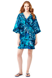 Women's Silk Blend Leaf Print Mid-length Kaftan