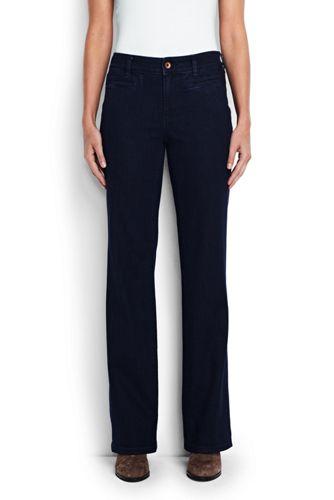 Mittelhohe Dark Rinse Trouser-Jeans für Damen