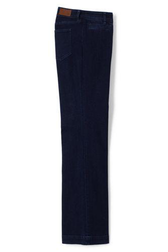 Women's Mid Rise Dark Denim Trouser Leg Jeans