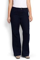 Women's Plus Size Mid Rise Denim Trouser-Dark Indigo Wash