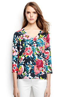 Women's Soft Floral Three-quarter Sleeve V-neck Tunic