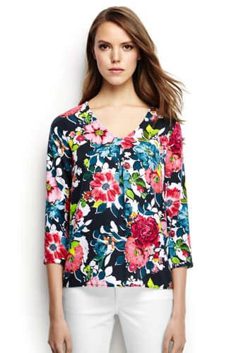 Women's Regular Soft Floral Three-quarter Sleeve V-neck Tunic