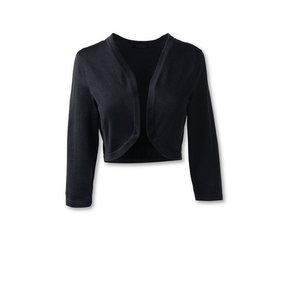 Lands' End Women's Plus Size Supima 3/4 Sleeve Shrug Sweater