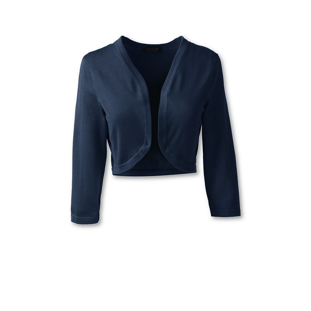 Lands' End Women's Petite Supima 3/4 Sleeve Shrug Sweater