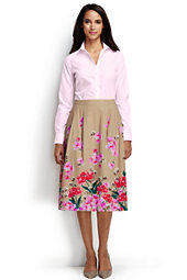 Women's Full Midi Skirt-Champagne Marin Border Print