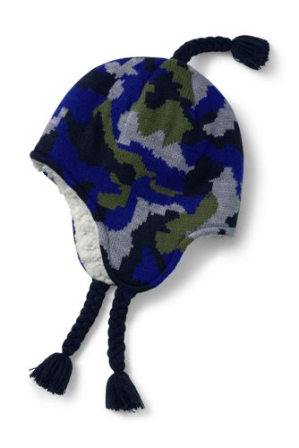 Boys' Fine Knit Sherpa Lined Peruvian Hat