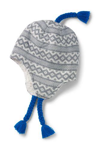 Boys' Fine Knit Sherpa Lined Peruvian Hat