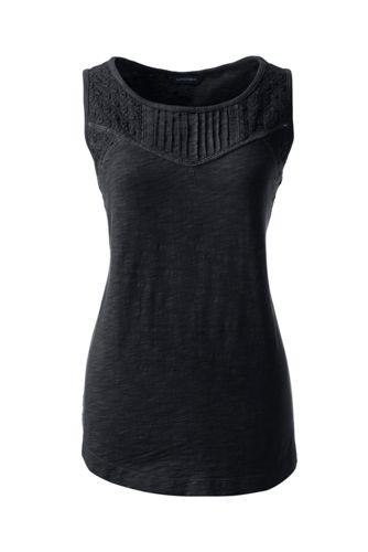 Le Haut Sans Manches en Jersey Soyeux Broderie Anglaise Femme, Stature Standard