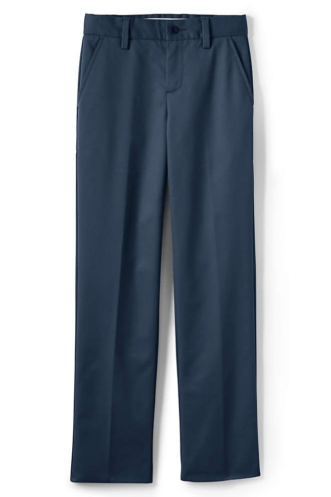 School Uniform Boys Lands' End Iron Knee Perfect Chino Pants, Front
