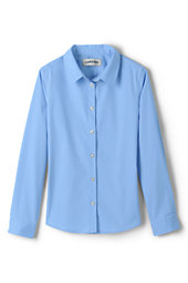 Girls Long Sleeve Stretch No Gape Shirt-Light Sea Blue