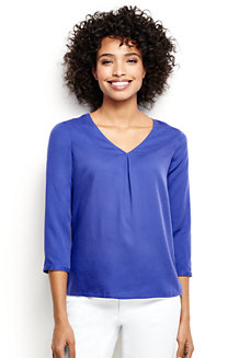 Women's Soft Three-quarter Sleeve V-neck Tunic