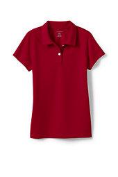 Girls Short Sleeve Poly Polo-Red,L