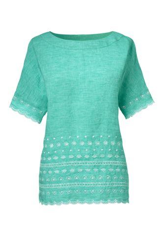 Women's Regular Embroidered Linen Tee