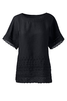 Women's Embroidered Linen Tee