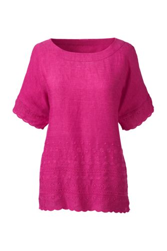 Women's Plus Embroidered Linen Tee