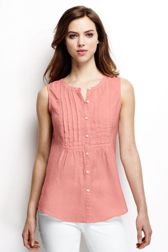 Women's Regular Pintuck Linen Sleeveless Shirt