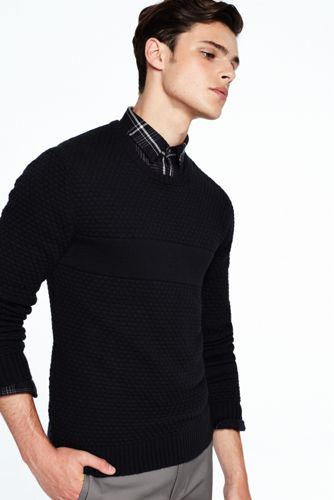Men's Cotton/Merino Textured Sweater