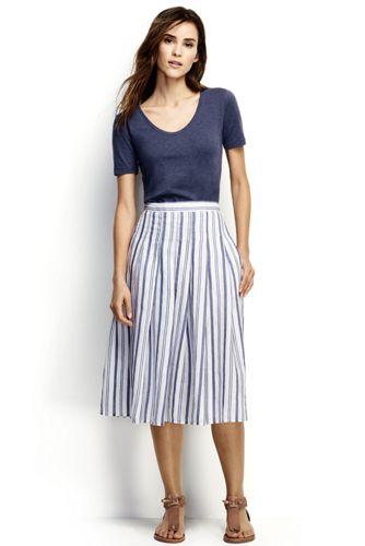 La Jupe Midi Lin Rayée Évasée, Femme Stature Standard