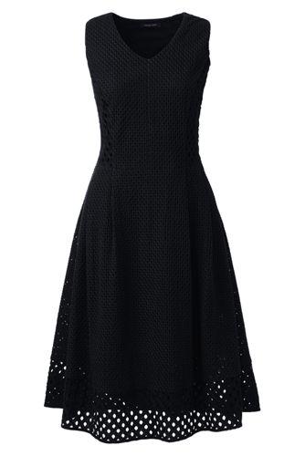 a53f73534e536 Ärmelloses Kleid mit Lochstickerei-Details für Damen | Lands' End