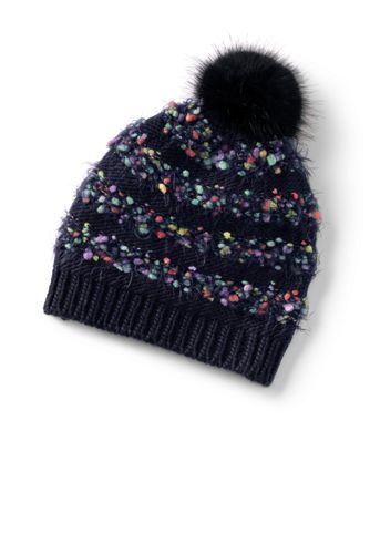 Gestreifte Mütze mit Fransen für Mädchen