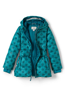 Girls' Midweight Patterned Skirted Down Parka