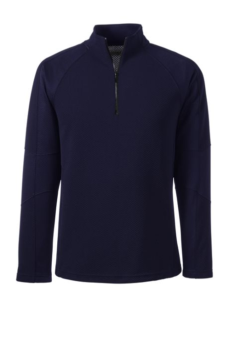 Men's Tailored Long Sleeve Textured Active Solid Half Zip