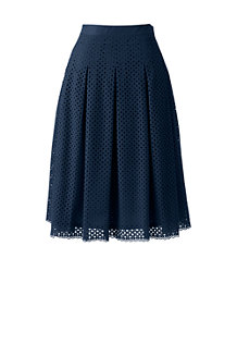 Women's Eyelet Lace Pleated Skirt