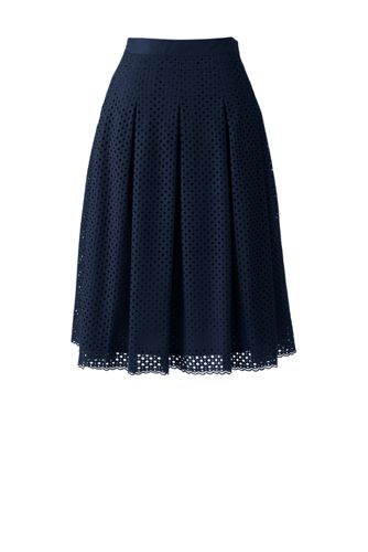 Women's Regular Eyelet Lace Pleated Skirt
