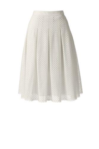 Women's Regular Eyelet Lace Pleated Skirt
