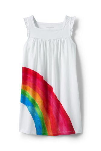 Little Girls' Sleeveless Ruffle Watercolour Rainbow Legging Top
