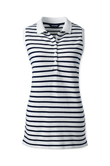 Women's Sleeveless Striped Piqué Polo