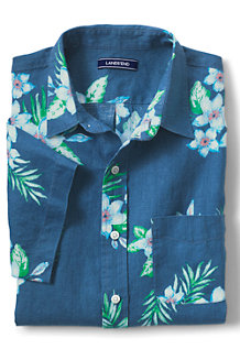 Men's Regular Patterned Short Sleeve Linen Shirt