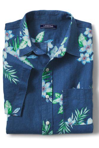 Men's Patterned Short Sleeve Linen Shirt