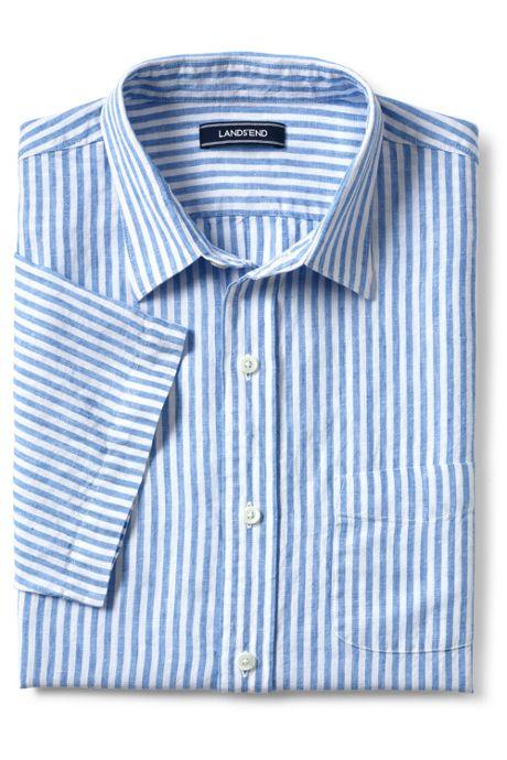 Men's Traditional Fit Short Sleeve Linen Pattern Shirt