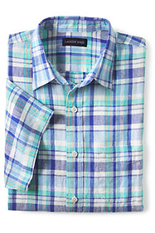Men's Patterned Short Sleeve Linen Shirt