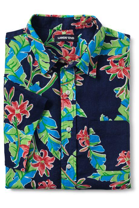 Men's Tall Traditional Fit Short Sleeve Linen Pattern Shirt