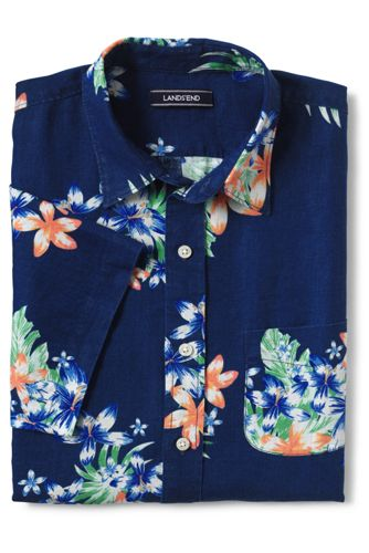 Men's Tall Traditional Fit Short Sleeve Linen Pattern Shirt by Lands' End
