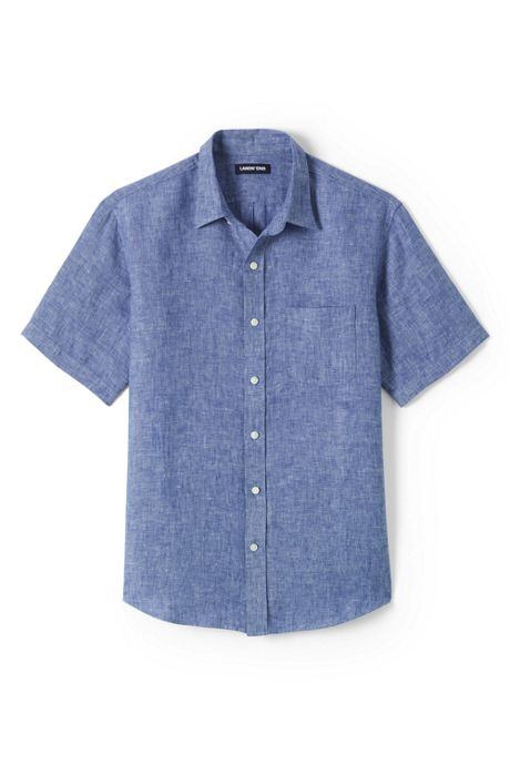 Men's Big & Tall Traditional Fit Short Sleeve Linen Shirt