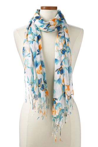 Womens Teal Floral Scarf