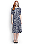 Women's Regular Elbow Sleeve Print Ponte Jersey Panelled Dress