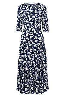 Women's Elbow Sleeve Print Ponte Jersey Panelled Dress