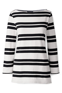 Women's Striped Three Quarter Sleeve Top