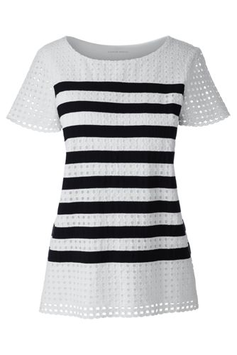 Women's Regular Striped Lace T-shirt