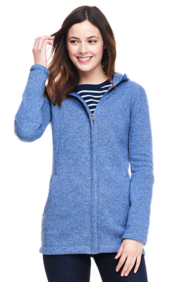 Women's Hooded Sweater Fleece Coat from Lands' End