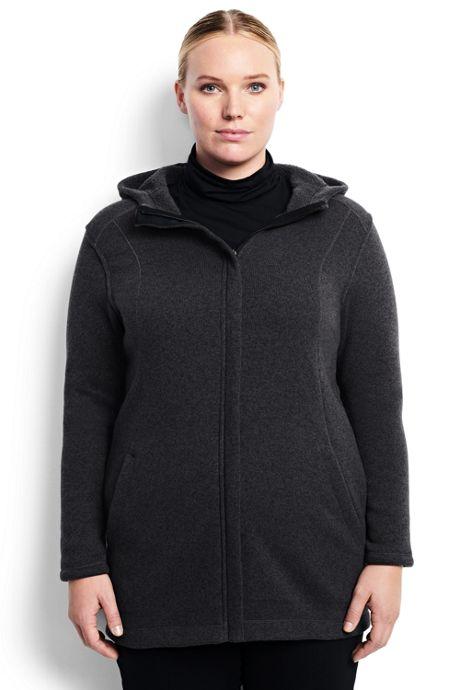 Women's Plus Size Hooded Sweater Fleece Coat