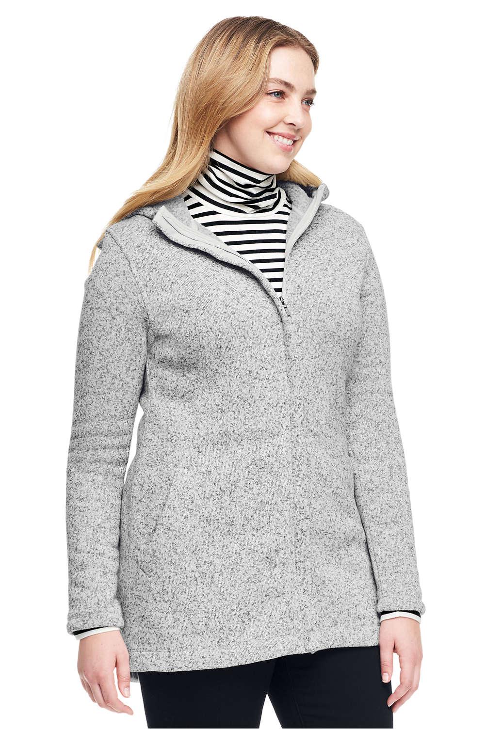 61ca0ff9992 Women s Plus Size Petite Hooded Sweater Fleece Coat