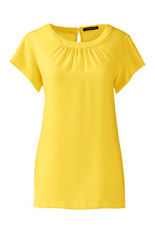 Women's Short Sleeve Ruched Neck Blouse