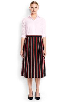 Women's Cotton/Linen Stripe Midi Skirt