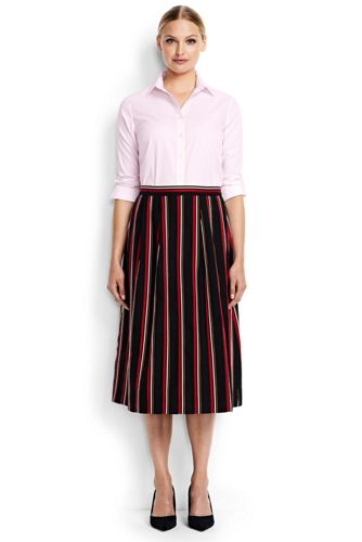 Women's Regular Cotton/Linen Stripe Midi Skirt