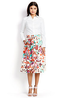 Women's Stretch Poplin Print Midi Skirt